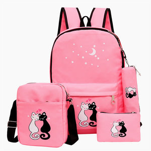 New School Backpack Set Cat Printing Canvas School Bags For Teenager Girls Preppy Style 4pcs Rucksack Cute Book Bag Mochila - thefashionique