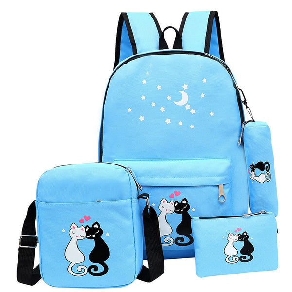 03f689f2f9 New School Backpack Set Cat Printing Canvas School Bags For Teenager G