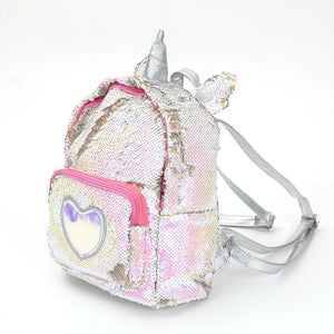 New Sequins Unicorn Backpack Women PU Leather Mini Travel Soft Bag Fashion SchoolBag For Teenager Student Girls Book Bag Satchel - thefashionique