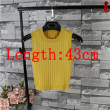 New Sexy High Waist Summer Women Fashion Slim O-neck Knitting Tank Tops Girls Knitted Camisole Solid Sleeveless Basic Tee shirts - thefashionique