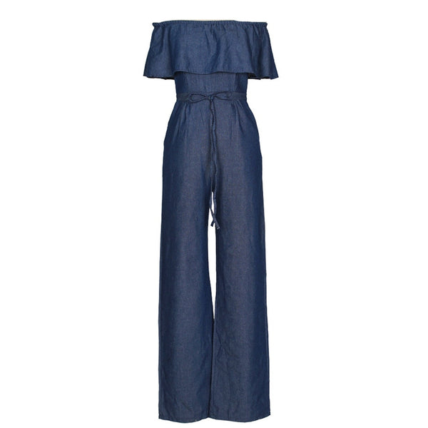 New Sexy Women Off Shoulder Denim Jumpsuit Rompers Slash Neck Ruffles Playsuit Wide Leg Strapless Fashion Female Overalls Blue - thefashionique