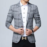 New Slim Fit Casual jacket Cotton Men Blazer Jacket Single Button Gray Mens Suit Jacket 2019 Autumn Patchwork Coat Male Suite - thefashionique