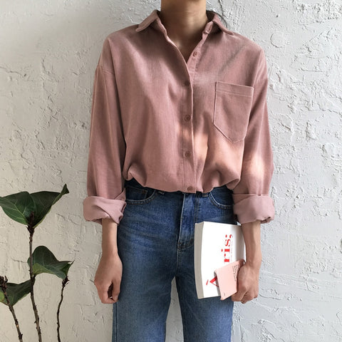 New Spring Vintage Women Shirts Corduroy Open Thin Blouse Shirt Army Green Hide Powder Navy 6012