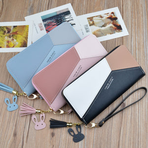 New Style WOMEN'S Clutch Wallet Women's Long Korean-style Contrasting Color Panel Zip Tassled Large-Volume Wallet Mobile Phone B