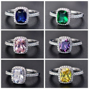 New Style White/Yellow/Purple/Blue/Green/Pink Crystal Rings For Women  Silver Colorful Ring Fashion Jewelry - thefashionique