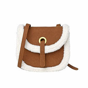 New Stylish Crossbody Bags for Women Luxury Saddle Shoulder Bag Ladies Lambswool Messenger Bag Winter Handbags Mini Satchel 2019 - thefashionique