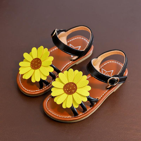 New Summer Kids Sandals For Girls Baby Sun Flower Sandals Fashion Slip Open Toe Children's Beach Shoes Sweet Flat Princess Shoes - thefashionique