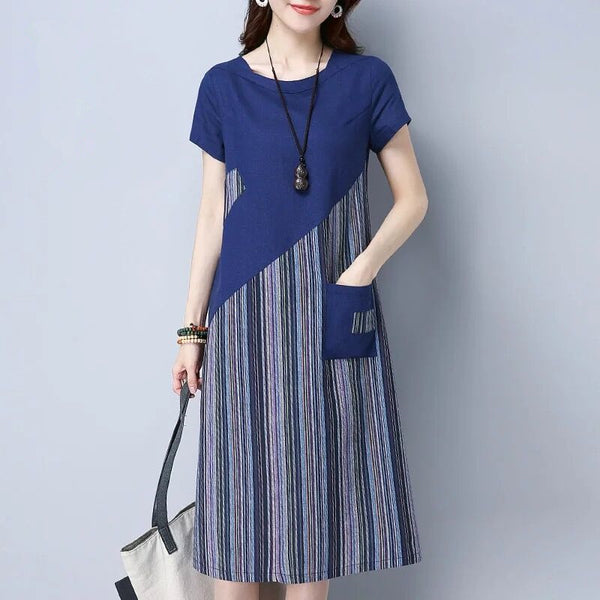New Summer Loose Plus size Dress Office Lady Casual Striped patchwork Mid Long Dresses Short Sleeve A-Line dress HY368 - thefashionique