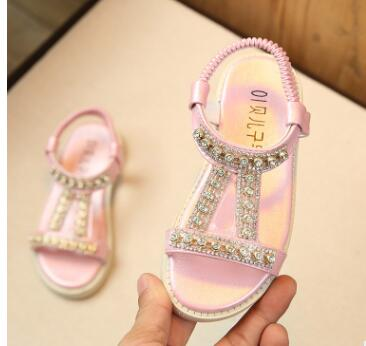 New Toddler Girls Kids Baby Summer Princess Rhinestone Flat Sandals Shoes For Girls School Beach Dress Shoes 1 2 3 4 5 6 7 Years - thefashionique