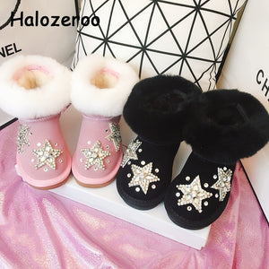 New Winter Kids Fur Snow Boots Baby Girls Warm Boots Children Rhinestone Shoes Toddler Brand Boots Genuine Leather Ankle Boots