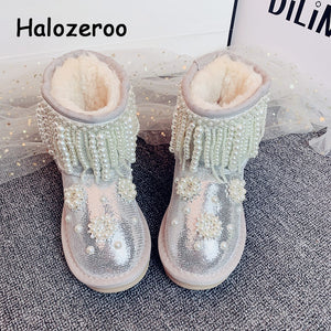 New Winter Kids Snow Boots Toddler Warm Glitter Shoes Baby Girls Pearl Ankle Boots Women Silver Brand Boots Fashion Sequin Boots