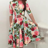 New Women Elegant Zipper Half Sleeve Floral Print Midi Expansion Pleated A-line Dresses with Waistband - thefashionique