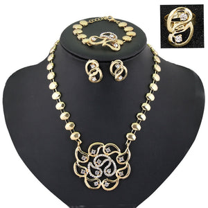 New Women Fashion Jewelry Sets  Gold Hollow out Flowers Necklaces Earrings Bracelet adjustable ring Jewelry Sets & More Party - thefashionique