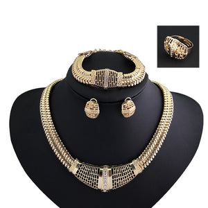New Women Fashion Jewelry Sets  Gold Hollow out  chain Necklaces Earrings Bracelet adjustable ring Jewelry Sets & More Party - thefashionique
