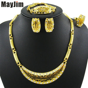 New Women Fashion Jewelry Sets  Gold moon shape collar Necklaces Earrings Bracelet adjustable ring Jewelry Sets & More Party - thefashionique