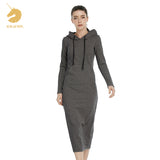 New Women Floor-Length Dress 2018 spring vintage Casual Hips Long Style Hooded Dress Lady Thickening Dresses M15322 - thefashionique
