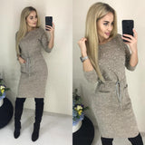 New Women Spring Winter Colors Cotton Dress Beading Knee-Length Sheath Casual Elegant Long Sleeve O-neck Pockets Office Dresses - thefashionique