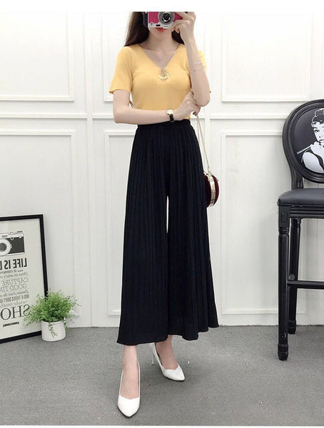 New Women Thin Ruffles Pleated Skirt Pant Loose Casual High Waist Chiffon Wrinkle Ankle Length Wide Leg Pants - thefashionique