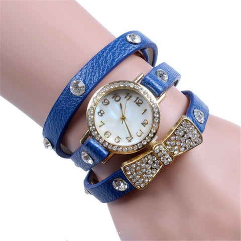 New Women Watches Elegant Women'S Crystal Bracelet Bow Leather Strap Chain Quartz Wrist Watch Classic Leather Watch  Clock Male