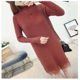 New Women's Turtleneck Sweater Dress Spring Autumn Slim Lace Patchwork Knitted Dresses Ladies Pullover Bottoming Vestidos AB751 - thefashionique