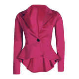 New Womens Ladies Crop Frill Shift Slim Fit Peplum Blazer Jacket Coat Slim Jacket