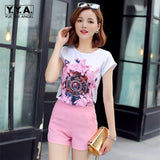 New Womens Summer Colorful Floral Printed T-Shirt Conjunto Feminino Chiffon Skirts Female Casual Streetwear Two Piece Set