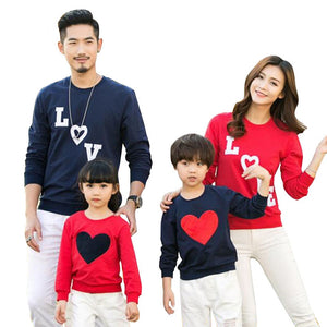 New arrival 2019 Family Matching Outfits Mom/Dad/Baby Love Long-Sleeve Cotton T shirts spring/autumn Family Clothing sets