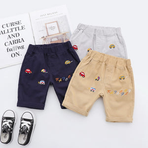 New arrivals kids shorts cotton embroidery cartoon car fashion casual summer shorts boys khaki short pants children boys clothes