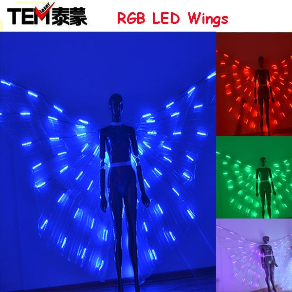 New arrived RGB LED wings Costume/ LED Dance Performance / LED Bdancing Wings DJ Wing Girls Dance Costumes Light Up Wings - thefashionique