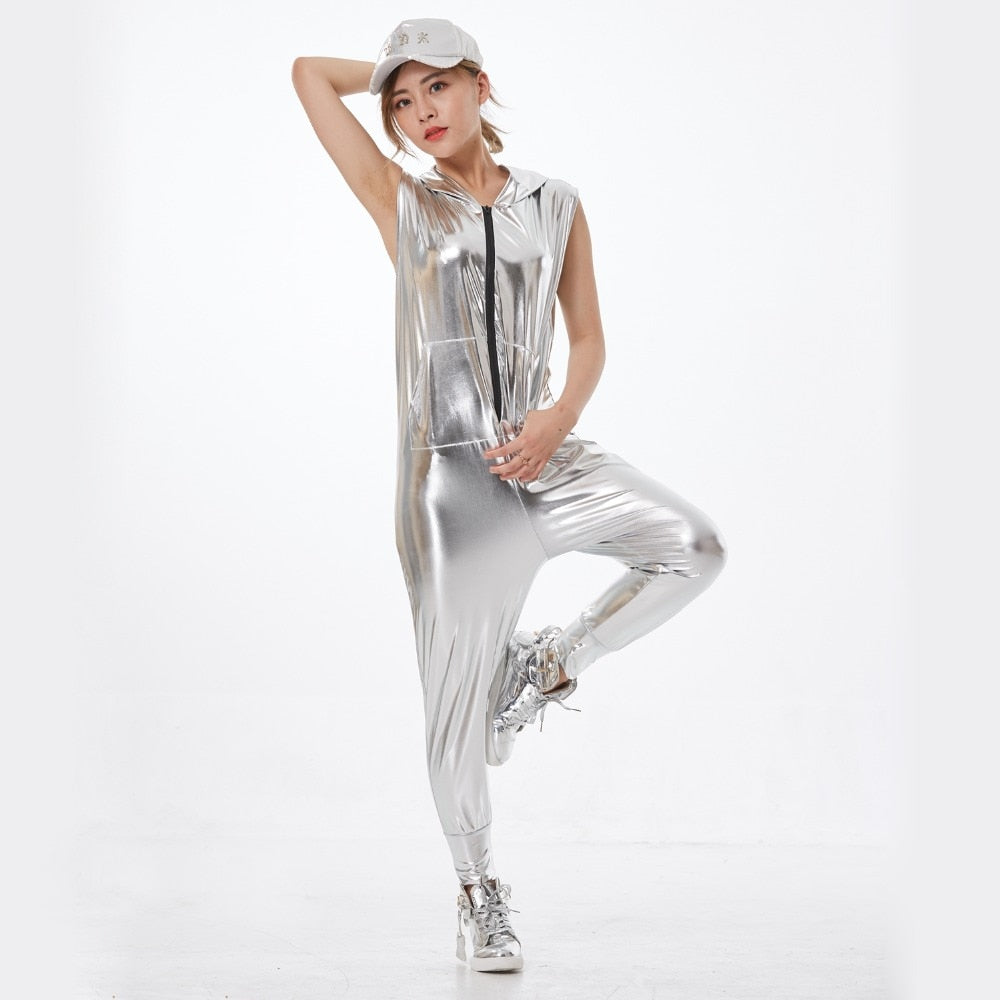 New fashion Hip Hop Dance Costume performance wear European loose Silver  bright color jazz jumpsuit Camouflage one piece Pants - thefashionique