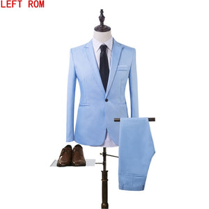 New fashion men's suit suit groom pure color wedding dress white-collar work dress Jacket + pants suit Casual suit - thefashionique
