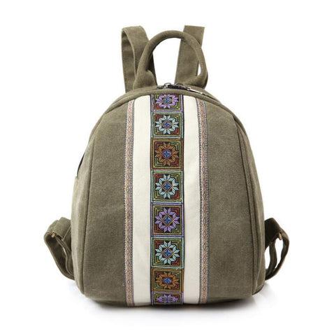 New fashion national style canvas small backpack lightweight mini ladies backpack Joker student bag - thefashionique