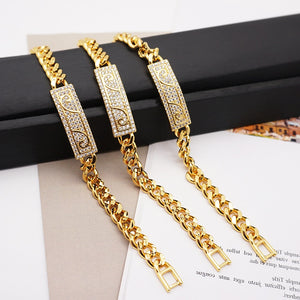 New gold colors Beautiful Bracelet for Women 3pcs Austrian Crystal Fashion Heart Chain Bracelet Wholesale