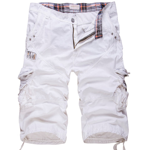 New loose large size cargo shorts cotton men's Tactical casual shorts solid color patchwork military shorts white knee length - thefashionique