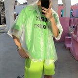 New men Plastic transparent short-sleeved shirt waterproof jacket fashion tide See through Clear pvc chic shirts - thefashionique
