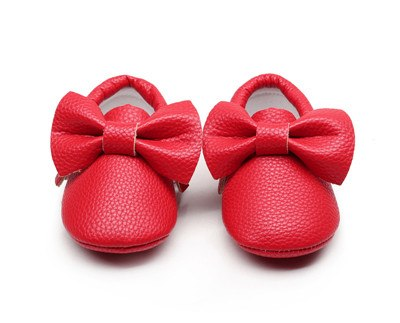 809daf18e57 New style Pink PU Leather Baby Moccasins Bow soft bottom child boys girls  First Walkers fringe