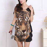 New summer spring 2017 Fashion Women short sleeve Dresses Plus Size Dress Loose Print tunic casual tops  L-5XL tiger leopar - thefashionique