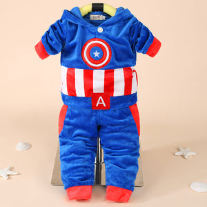 Newborn Baby Boys Clothes Autumn Winter Tracksuit Captain America Hoodie+Pant Costume Outfit Suit Infant Clothes For Baby Sets