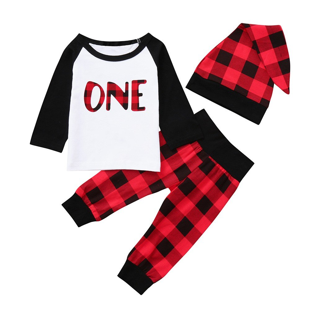 Newborn Baby Boys Girls Casual Cotton Blend Letter Plaid Print O-Neck Tops+Pants+Hat Set Outfits Clothes Baby Clothing set 30 - thefashionique