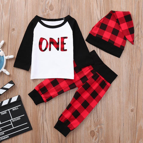 Newborn Baby Boys Girls Casual Cotton Blend Letter Plaid Print O-Neck Tops+Pants+Hat Set Outfits Clothes Baby Clothing set 30
