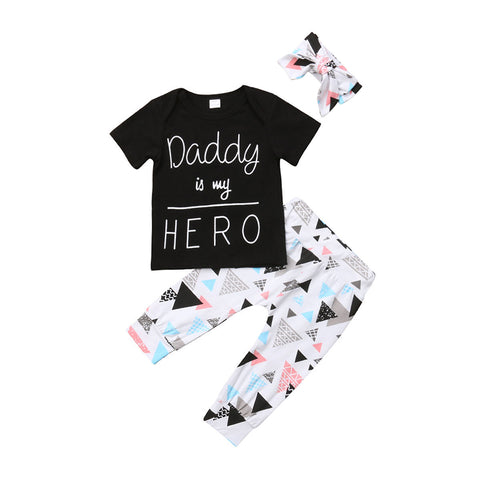 Newborn Baby Boys Girls Daddy Is My Hero Short Sleeve T-shirt+Triangle Leggings Pants Handband Outfit Toddler Boutique Clothes