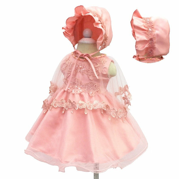 Newborn Baby Girl Clothes Dresses 2018 Set With Hat For Baptism Party Christening Wedding Lace Embroidery Kids Infant Dresses - thefashionique