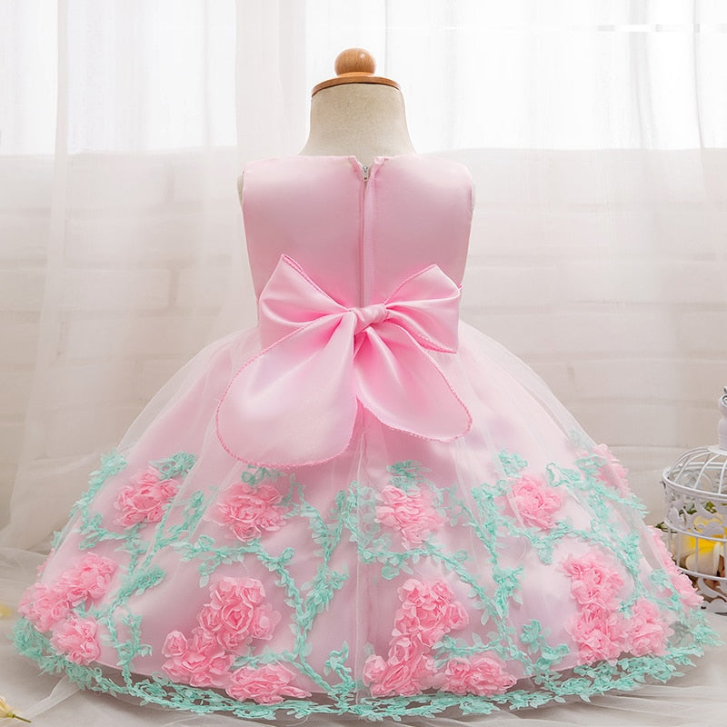 Newborn Baby Girl Flower Dresses Elegant Little Girls Princess Party Tutu Lace Gown Vestido De Festa Infantil Size 0-2 Years - thefashionique