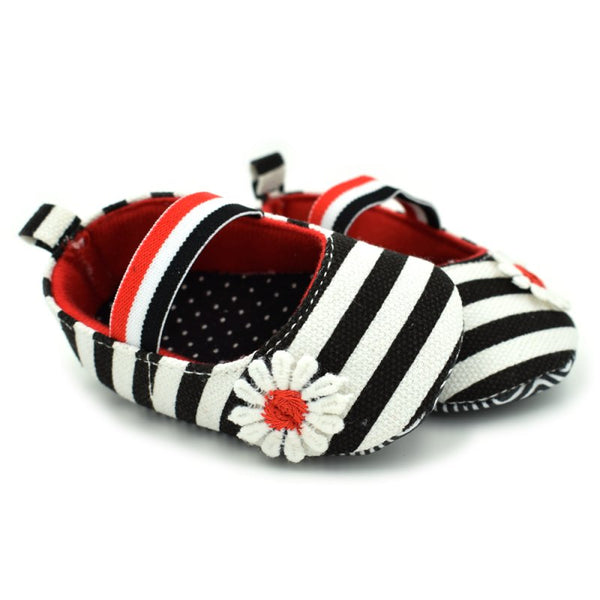 Newborn Baby Girls Flower Cotton First walker Shoes Soft Soled Striped Crib Shoes 0-18M - thefashionique