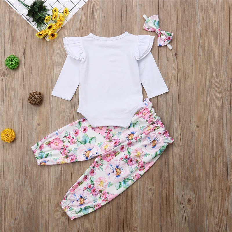 Newborn Baby Girls Lovely Autumn Clothes Set Fashion Baby Girls Long Sleeve Tops Romper Floral Printed Pants 3Pcs Outfits 0-24M - thefashionique