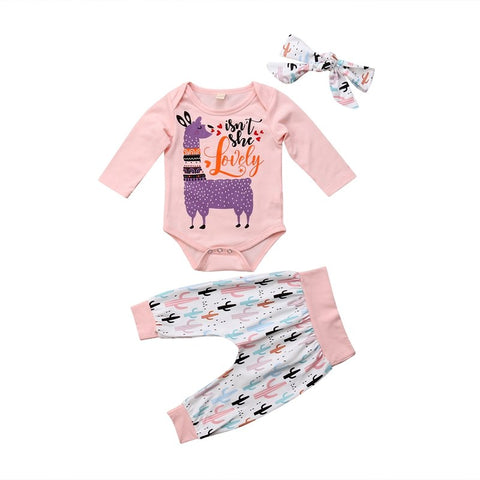 Newborn Baby Girls Outfits 3 Pieces Tops Long Sleeves Bodysuit and Pants Set Toddler Autumn Clothes Tracksuit