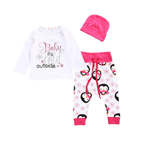 Newborn Baby Toddler Girls Outfit Long Sleeve Letter Print Tops T-shirt Pants Hat Autumn Cotton Girl Kids Clothes Set