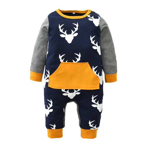 Newborn Infant Baby Boy Girl Deer Printing Patchwork Cotton Long Sleeve Romper One-pieces Toddler Clothes Xmas Outfits Christmas - thefashionique
