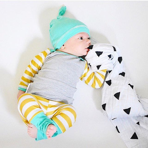 Newborn Infant Baby Boy Girl Summer Clothes Set Striped Baby Clothes Girl Boys Girls Outfit Tops+Pant+Hat 3pcs Clothing Sets