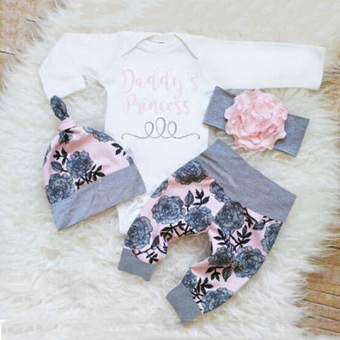 Newborn Infant Baby Clothes Set Girl's Bodysuit +Pants Leggings +Hat Suits Baby Girl Clothes